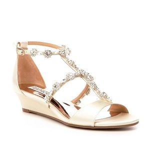 Terry jeweled Badgley Mischka wedge dress sandal